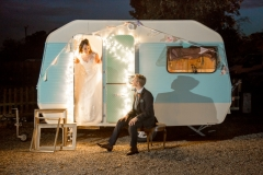 Bride and Groom with caravan